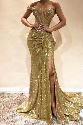 One Shoulder Side Slit Sequins Formal Dress | Sleeveless Long Prom Dresses Cheap Online
