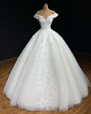 Elegant Off The Shoulder Appliques Sexy Ball Gown Wedding Dresses Cheap_3