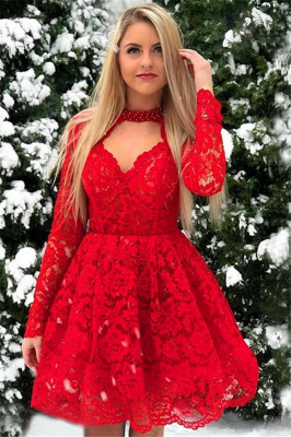 Red Lace Long-Sleeves A-Line Short-Length Homecoming Dresses_1