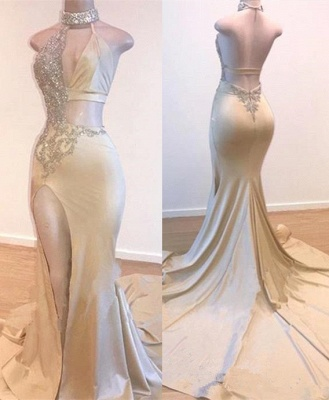 Crystal Halter Side Slit Prom Dresses | A-Line Backless Sleeveless Evening Dresses