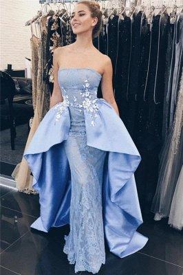 Elegant Blue Lace Appliques Strapless Overskirt Mermaid Prom Dresses_1