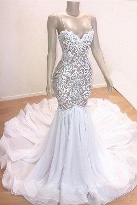 Gorgeous Appliques Spaghetti Straps Sleeveless Mermaid Prom Dresses Cheap_1