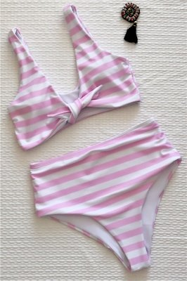 Stripes Vintage Style Two-piece Scoop Swimwear Suits_1