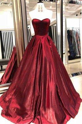 Glamorous Burgundy Sweetheart Sleeveless A-Line Prom Dresses_2