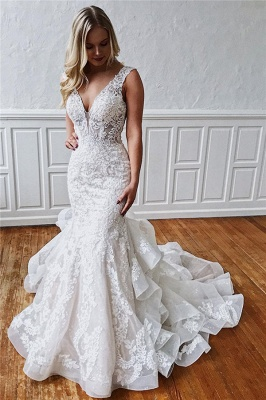 Classic Mermaid Ruffles Lace Wedding Dresses | V-neck Sleeveless Bridal Gowns Cheap Online_1
