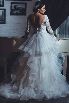 Open Back Lace Appliques Wedding Dresses with Sleeves | Tiered Ruffles Tulle Sexy Bridal Gowns_3
