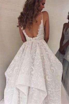 Spaghetti Straps Ruffles Wedding Dresses Cheap | Appliques Lace Puffy Bridal Gowns Online_2