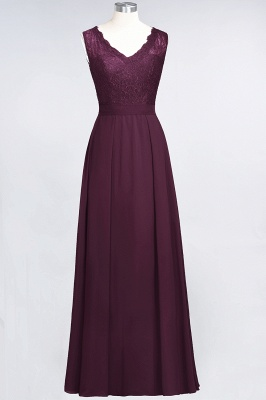 Elegant Princess Chiffon Lace V-Neck Sleeveless Floor-Length Bridesmaid Dress_1