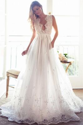 A-Line Sleeveless Gorgeous Princess Lace Custom Made V-Neck Wedding Dresses Cheap_2