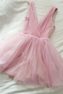 V-neck Cute Tulle Pink Simple Sexy Short Homecoming Dresses_2