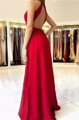 Sexy Halter Sleeveless Open-Back Side-Slit A-Line Prom Dresses_2