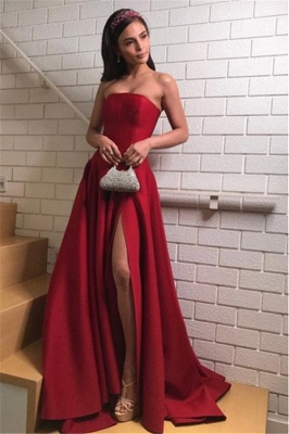 Burgundy Strapless Side-Slit A-Line Evening Dresses_2