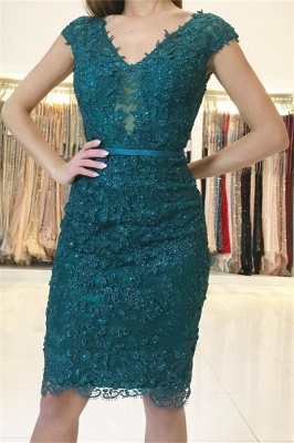 Dark Green Straps Lace Appliques Short Home-Coming Dresses_1