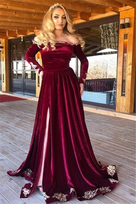 Burgundy Off-The-Shoulder Velvet Long Sleeves Evening Dresses_1