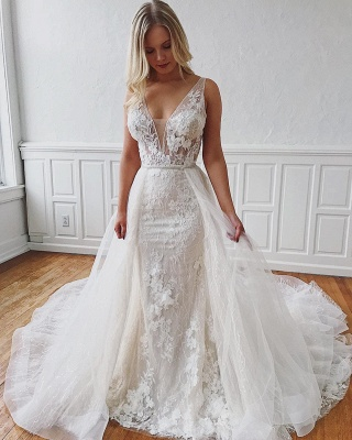 Sexy V-Neck Lace Bridal Gowns Cheap | Detachable Mermaid Wedding Dresses Online_2