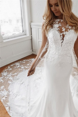 Sleeveless Lace Wedding Dresses Cheap Online | Mermaid Bridal Gowns with Long Train_1