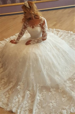 Vintage New Arrival Lace Appliques Cheap Online Gorgeous Long Sleeves Elegant Ball Gown Wedding Dresses_2