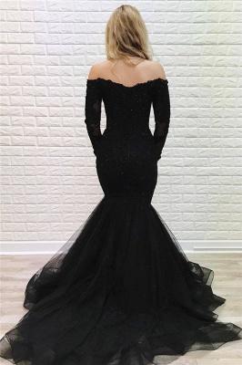 Black Off-The-Shoulder Long Sleeves Mermaid Evening Dresses_2