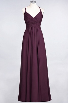 Elegant Princess Chiffon Spaghetti-Straps V-Neck Sleeveless Floor-Length Bridesmaid Dress with Ruffles_19