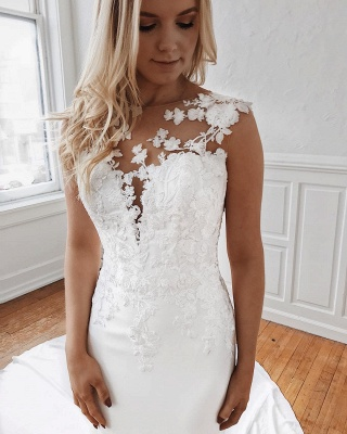 Sleeveless Lace Wedding Dresses Cheap Online | Mermaid Bridal Gowns with Long Train_3