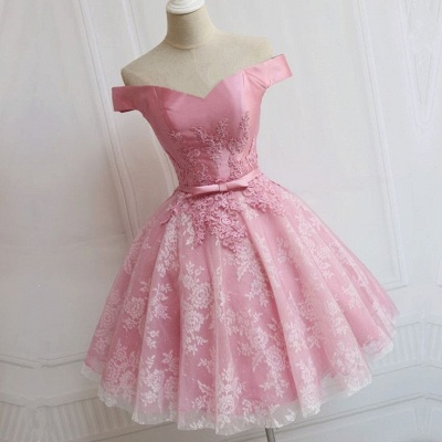 Off The Shoulder Custom Made A-line Appliques Bowknot Pink Elegant Sexy Short Homecoming Dresses_3