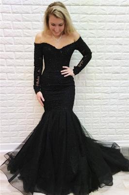 Black Off-The-Shoulder Long Sleeves Mermaid Evening Dresses_1