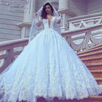 Popular V-neck New Arrival Lace Long Sleeve Cheap Online Court Train Elegant Ball Gown Wedding Dresses_4