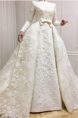 Luxury Beaded Lace-Applique Long-Sleeves Jewel Ball-Gown Wedding Dresses with Over-Skirt CD0071_2