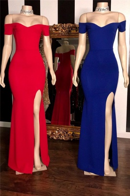 Élégantes robes de bal de sirène simples fendue sur le côté côté épaule_1