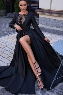 Newly Black Lone Sleeves Side-Slit A-Line Prom Dresses_3