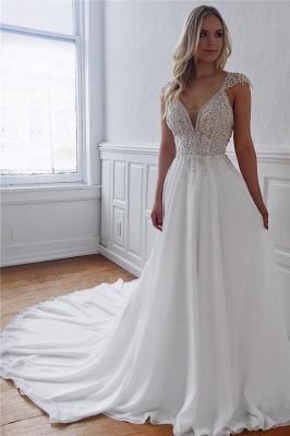 Bretelles élégantes appliques de perles robes de mariée une ligne_1