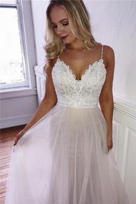 Gorgeous Spaghetti-Straps Appliques A-Line Tulle Prom Dresses_1