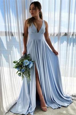Bretelles bleu ciel col en V fendue sur le côté A-ligne de robe de bal_1