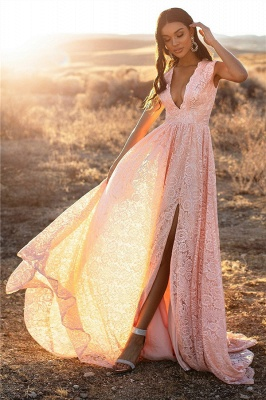 Bretelles roses dentelle v-cou dentelle fente latérale robes de soirée une ligne_3