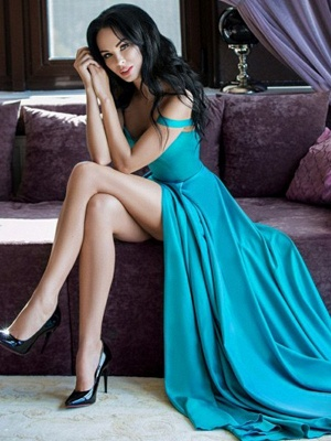 Glamorous Straps Side-Slit A-Line Evening Dresses_2