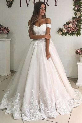 Off The Shoulder Lace Appliques Bridal Dresses   Tulle A-Line Stunning Wedding Dresses Cheap Online_1