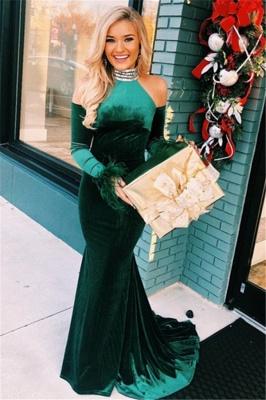Green High-Neck Velvet Long Sleeves Mermaid Evening Dresses_1
