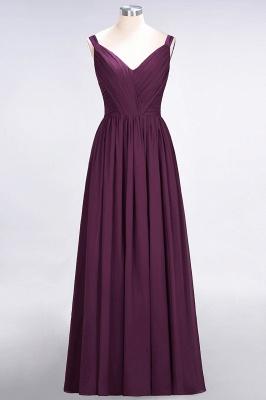 Elegant Princess Chiffon Straps V-Neck Sleeveless Backless Floor-Length Bridesmaid Dress with Ruffles_1