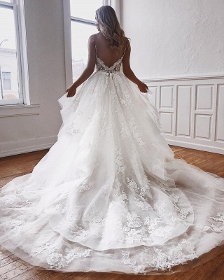 Sexy Spaghetti Straps Lace Appliques  Wedding Dresses   Puffy Tulle Sleeveless Bridal Gowns_2