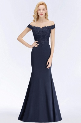 Elegant Mermaid Off-The-Shoulder Lace Green Bridesmaid Dresses_6