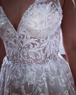 Amazing Straps Crystals Belt White Wedding Dresses |  V-Neck Appliques Lace Bridal Gowns_2