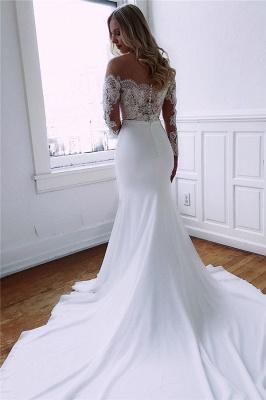 Long Sleeve Lace Wedding Dresses Cheap | Sheath Satin Dresses for Weddings_2