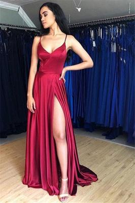 Glamorous Spaghetti-Straps Side-Slit A-Line Prom Dresses_1