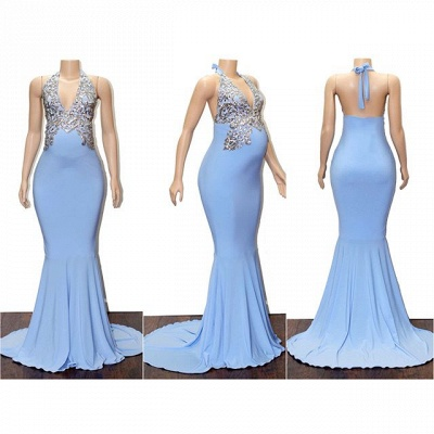Blue Halter Appliques Sleeveless Pregnant Mermaid Prom Dresses_2