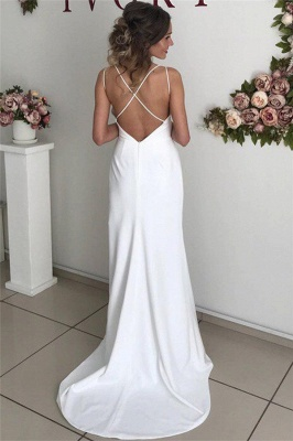 Simple Sexy Backless Spaghetti-Straps Side-Slit Prom Dresses_2