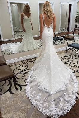 V-neck Sexy Straps Bridal Gowns with Court Train | Lace Backless Mermaid Wedding Dresses_1