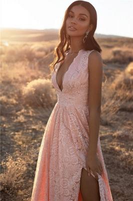 Bretelles roses dentelle v-cou dentelle fente latérale robes de soirée une ligne_5