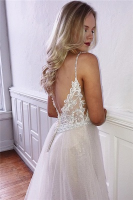 Gorgeous Spaghetti-Straps Appliques A-Line Tulle Prom Dresses_2