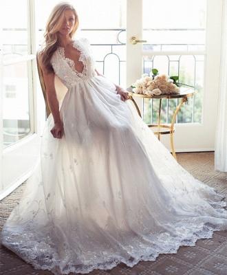 A-Line Sleeveless Gorgeous Princess Lace Custom Made V-Neck Wedding Dresses Cheap_4