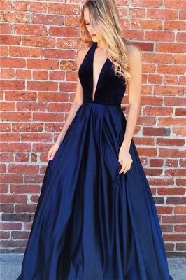 Sexy Halter V-Neck Sleeveless Backless A-Line Prom Dresses_2